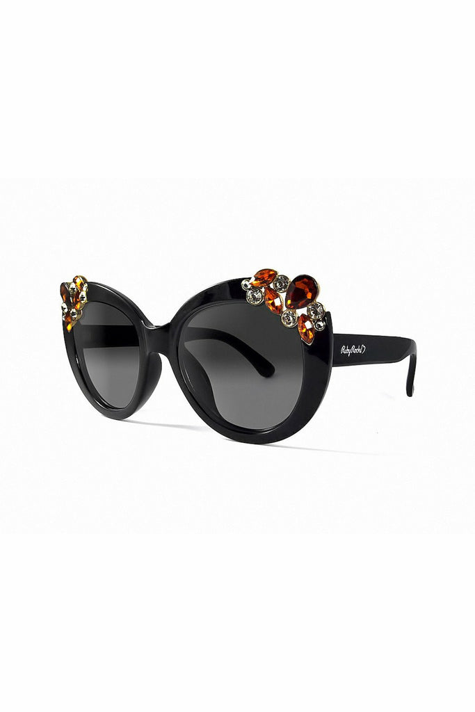 RubyRocks Ladies 'Dubai' Gem Detail Sunglasses In Black