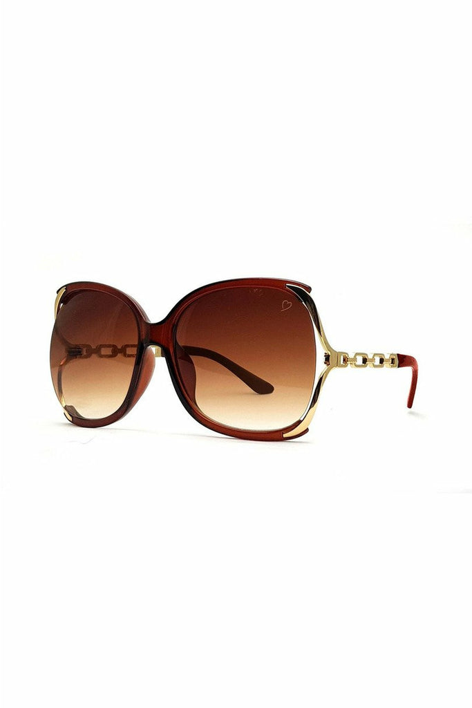 RubyRocks 'Cherry' Oversized Sunglasses In Crystal Brown