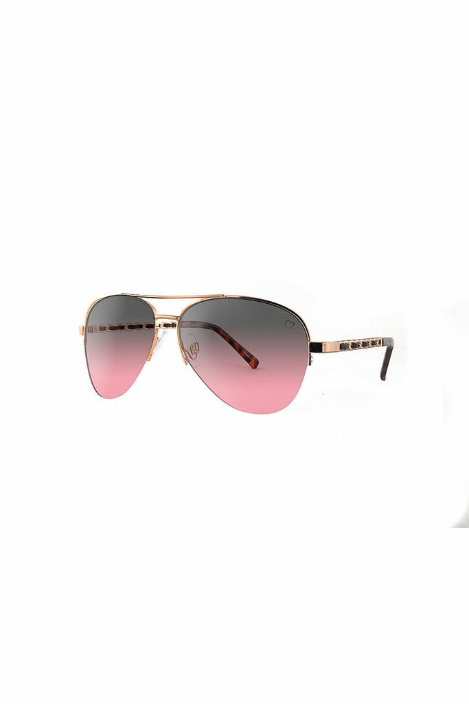 RubyRocks Metal 'New York' Aviator With Fabric Braid Detail Temple in Rose Gold