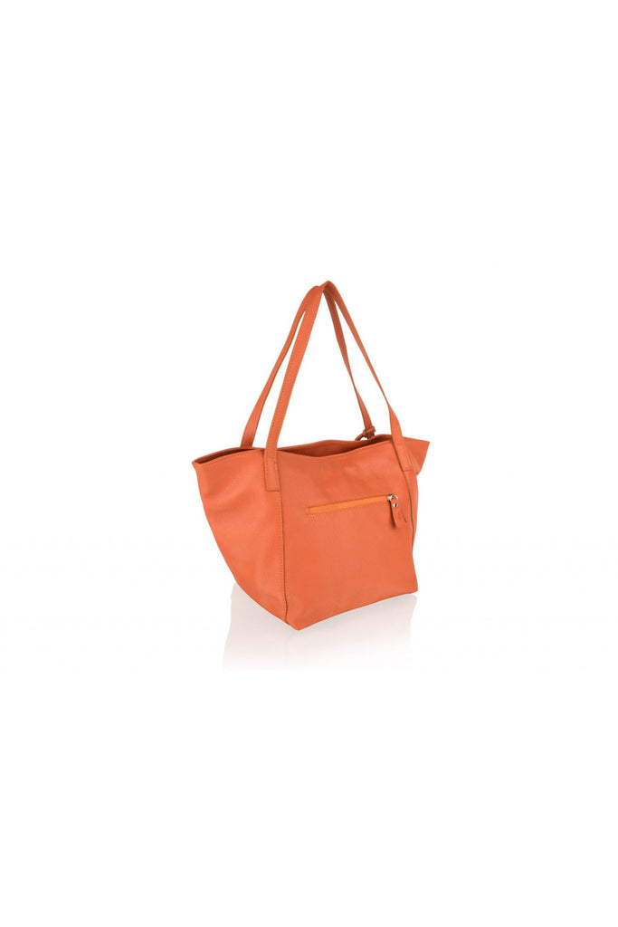 "Woodland Leather Orange Tote Shopping Bag 20.0"" Central Zip Carry Handle Woodland Leathers"