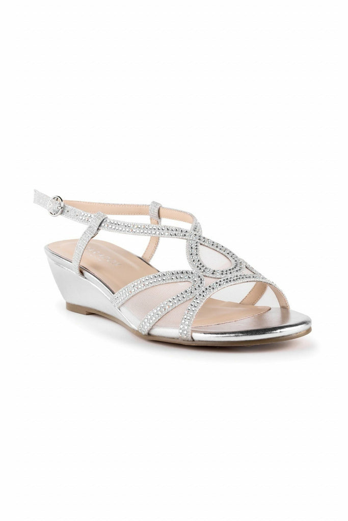 Justine - Silver Glitter Low Heel Wedge Sandals Paradox London