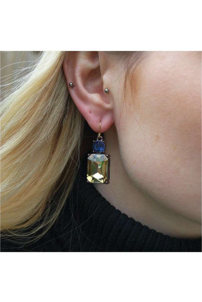 Emerald cut gem earring in smoke with blue Last True Angel