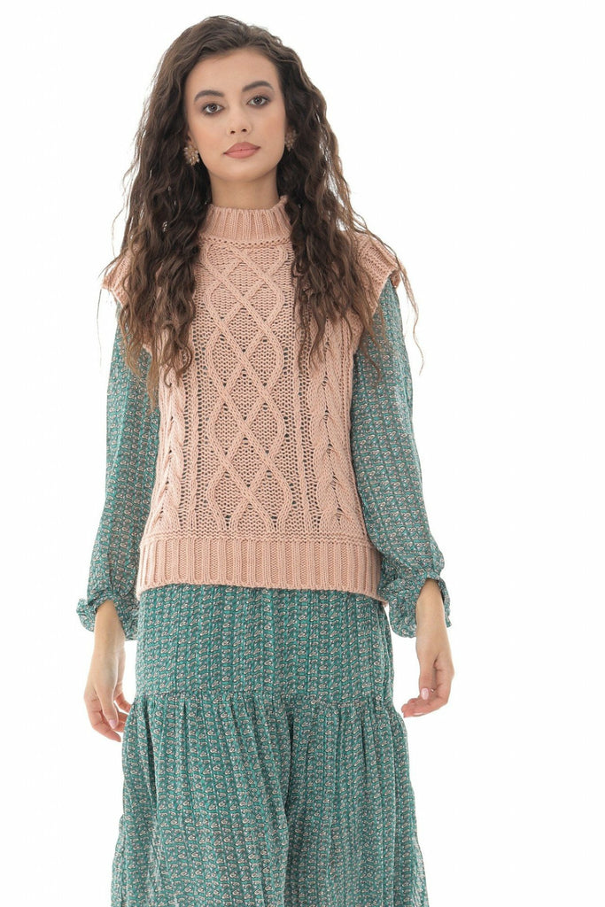 Aimelia Apparel Ladies Pink High neck cable knitted vest