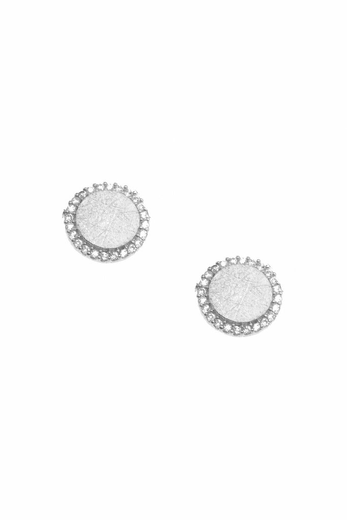 White Leaf Crystal disc earring in silver