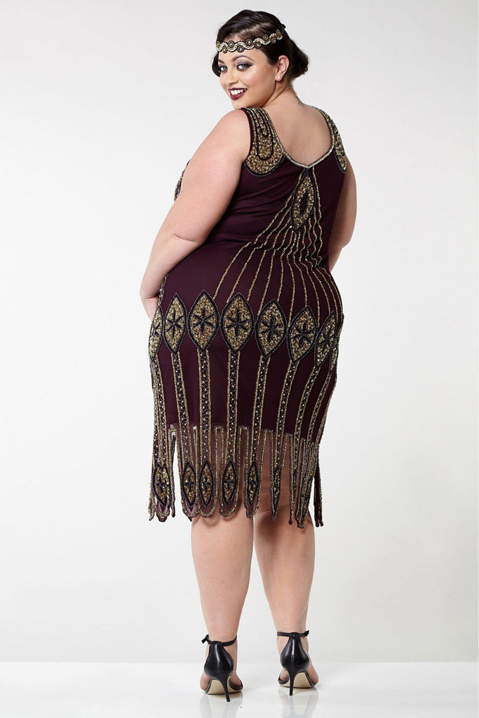 Molly Flapper Dress-Plum Gatsbylady London