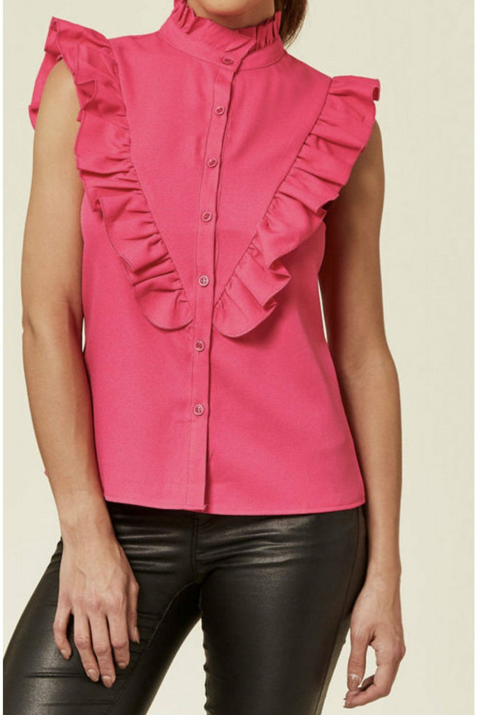 Madam Rage Pink ruffle sleeveless blouse