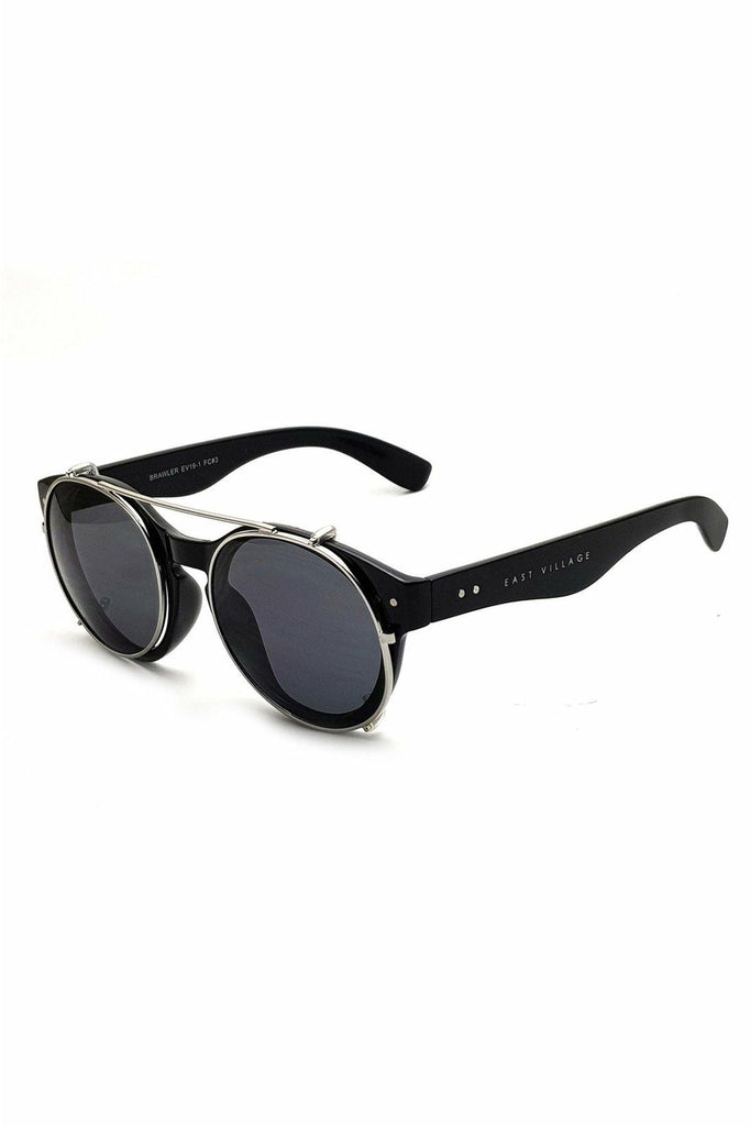 East Village 'Brawler' Round Sunglasses Black And Metal With Solid Smoke Lens