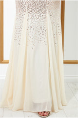 Stephanie Pratt – Sequin and Chiffon Maxi Dress - Champagne
