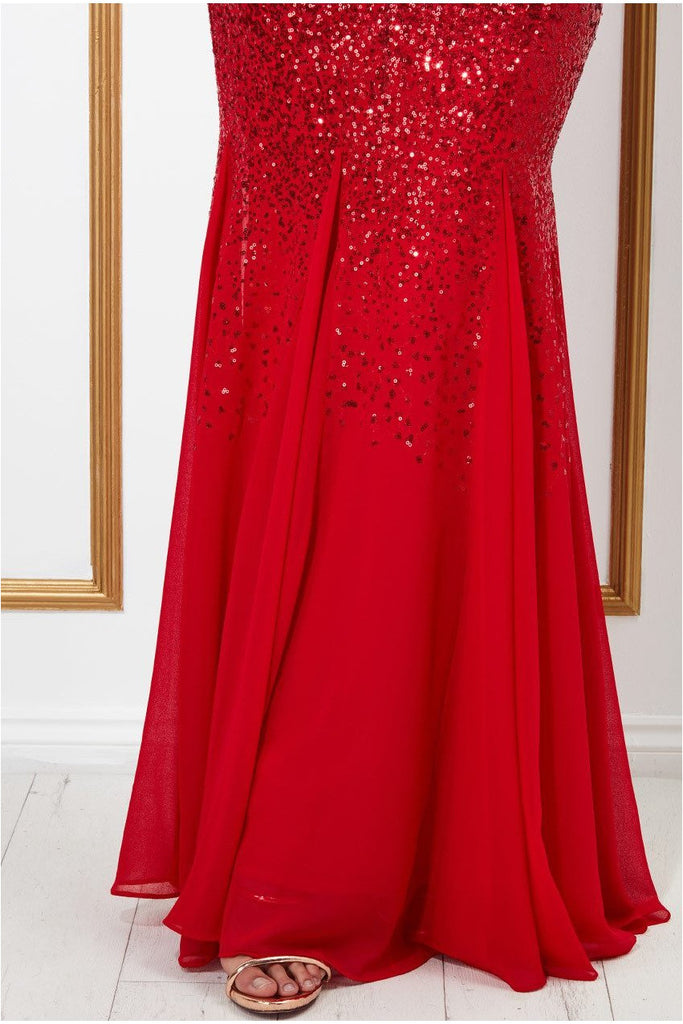 Stephanie Pratt – Sequin and Chiffon Maxi Dress - Red
