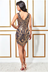 Stephanie Pratt – Sequin Scalloped Hem Mini Dress - Gold