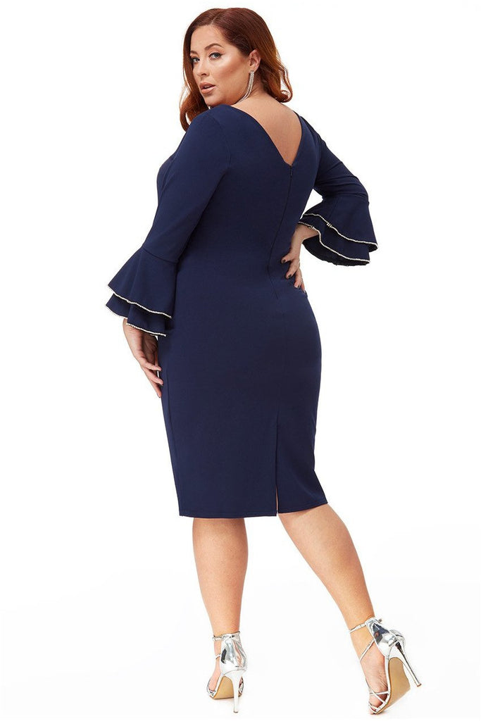 Goddiva Plus Double Frill Sleeve Midi Dress with Diamante Trim - Navy