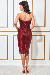 Goddiva Sweetheart Neck Embroidered Sequin Midi Dress - Wine