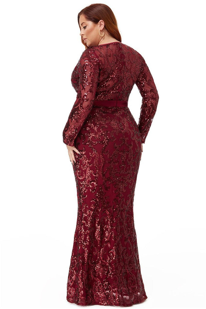 Goddiva Plus Embroidered Sequin & Mesh Maxi Dress - Wine