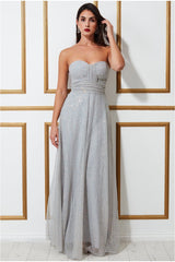 Goddiva Bandeau Sequin & Mesh Maxi Dress - Grey