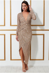 Goddiva Wrap Over Asymmetric Sequin Maxi Dress - Champagne