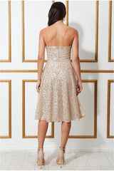 Goddiva Boobtube Sequin Midi Dress - Champagne