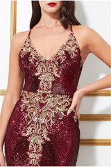 Goddiva Sequin Pattern Maxi Dress - Wine