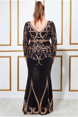 Goddiva Plus Sequin Embellished Evening Maxi Dress - Black