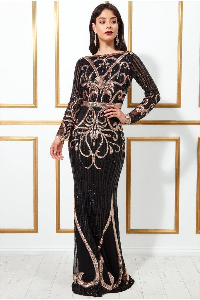 Goddiva Sequin Embellished Evening Maxi Dress - Black