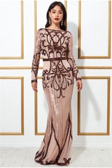 Goddiva Sequin Embellished Evening Maxi Dress - Champagne