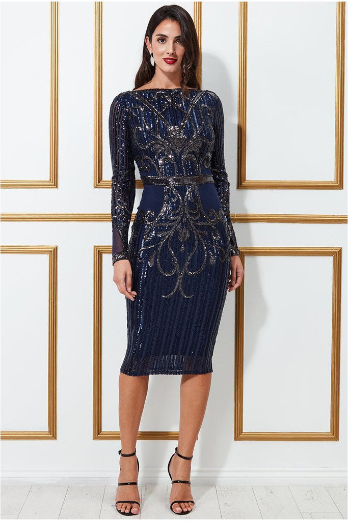 Goddiva Sequined Mesh with Open Back Midi Dress - Navy