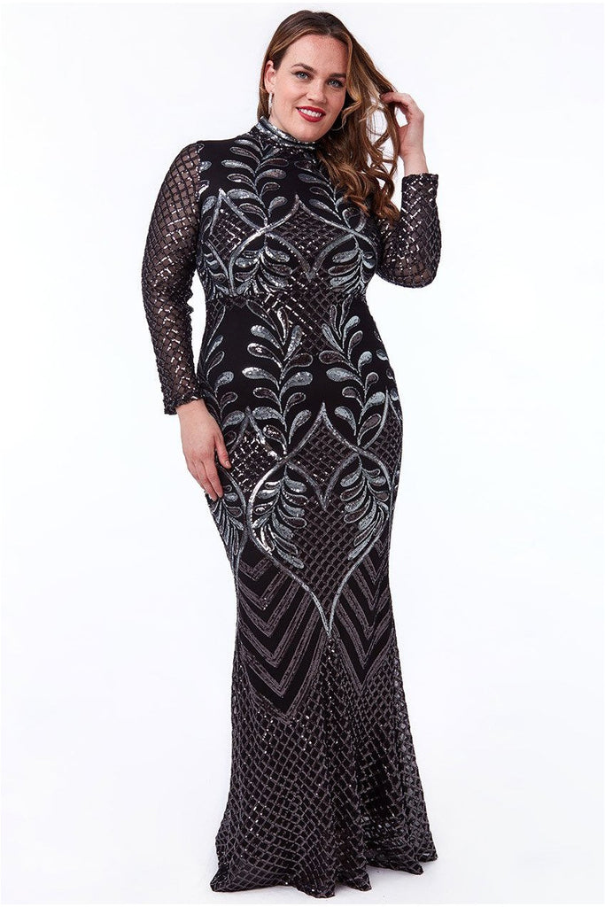 Goddiva Plus Sequins Mesh Maxi With High Collar Dress - Black