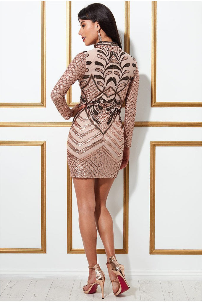 Goddiva Sequin Mesh Mini With High Collar Dress - Champagne