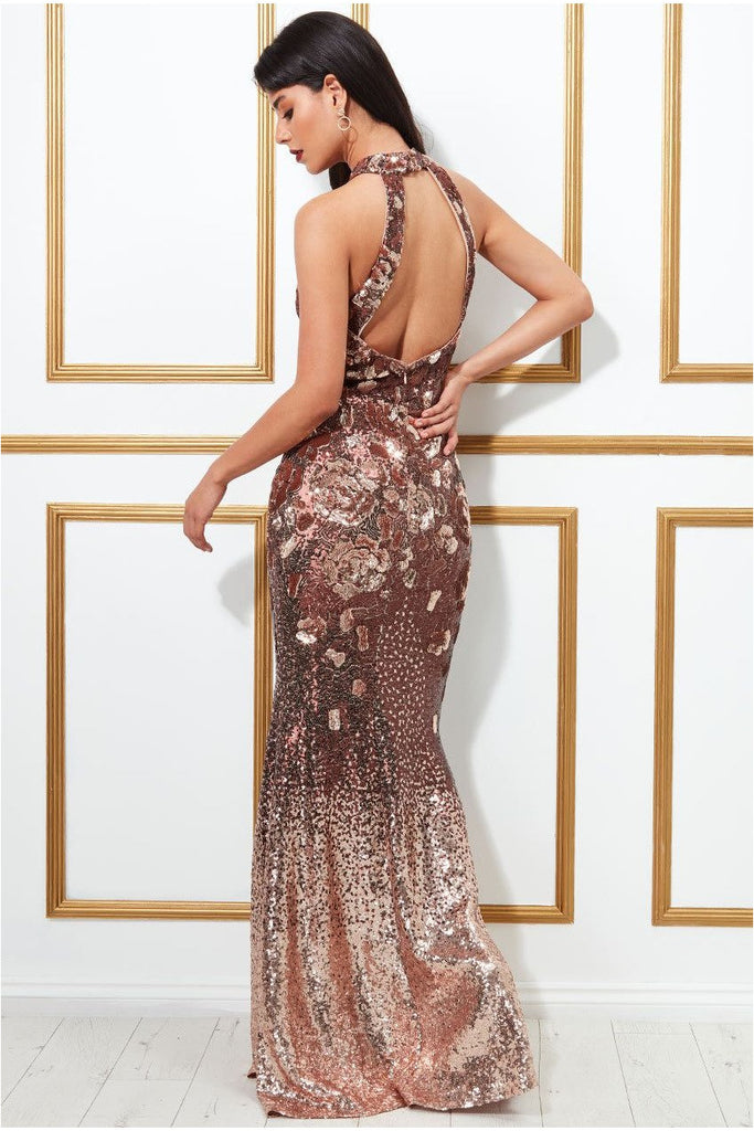 Goddiva Sequin Embroidered Halterneck Evening Maxi Dress - Champagne