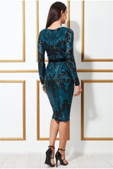 Goddiva Long Sleeve Sequin Party Midi Dress - Teal