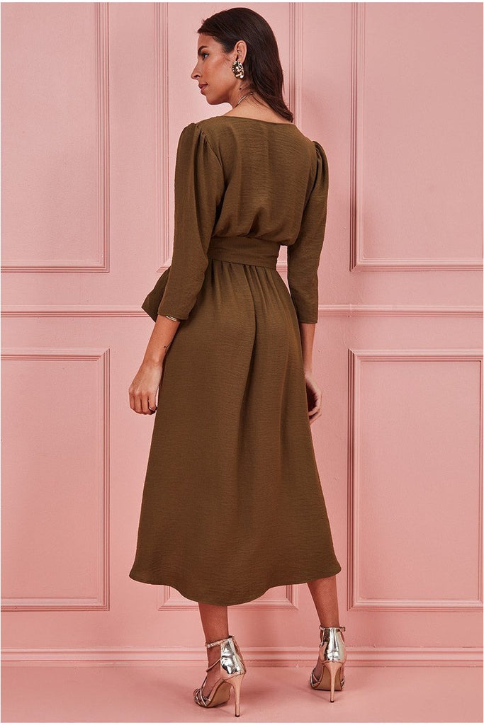 Goddiva High Low Wrap Style Midi Dress - Khaki
