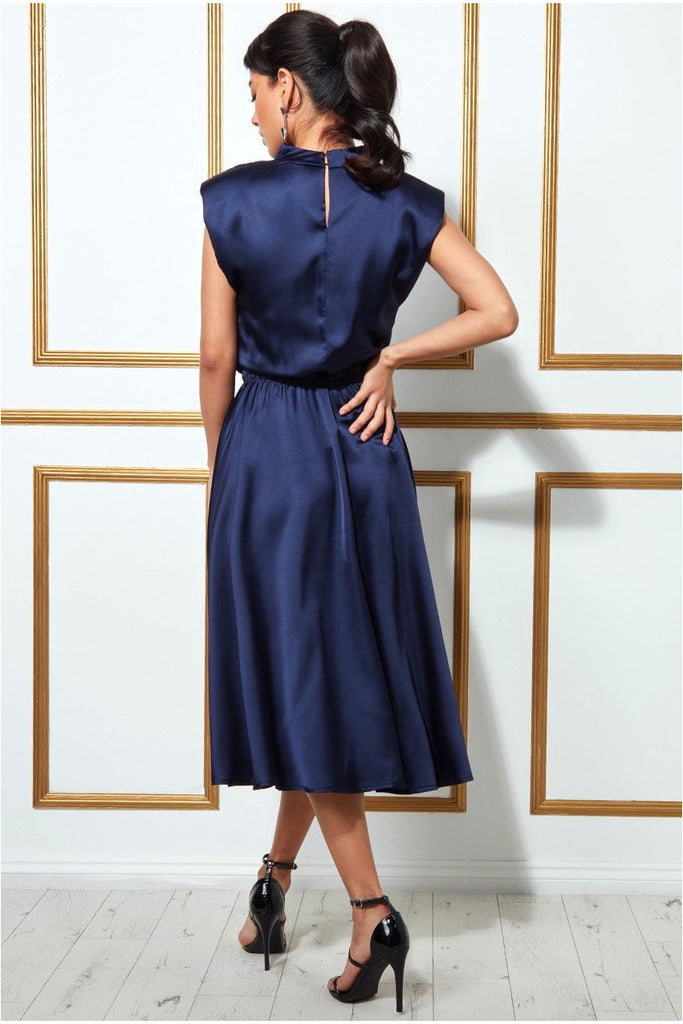 Goddiva High Collar Satin Midi Dress with Shoulder Pads - Navy