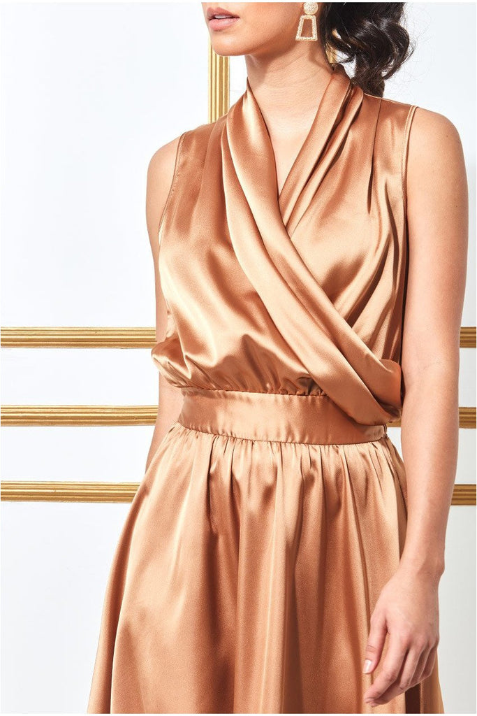 Goddiva Wrap Style High Low Satin Midi Dress - Bronze