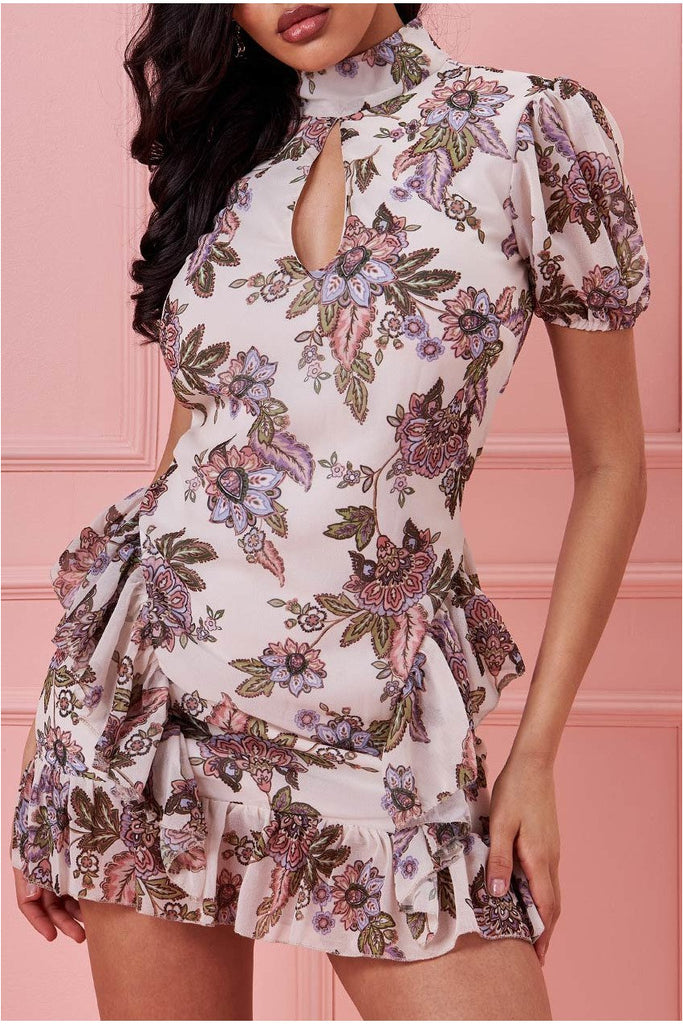 Goddiva High Collar Short Sleeve Printed Mini Dress - Cream