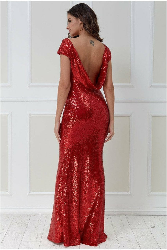 Open Back Sequin Maxi Dress - Red