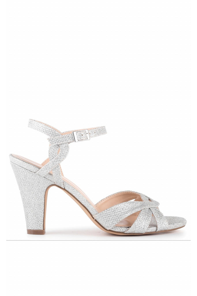 Kitty - Silver Glitter High Heel Ankle Strap Sandals Paradox London