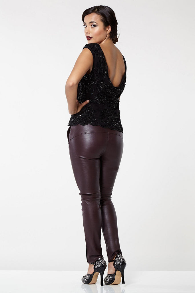 Claudia Genuine Stretch Fitted 100% Leather Trousers- Burgundy Gatsbylady London