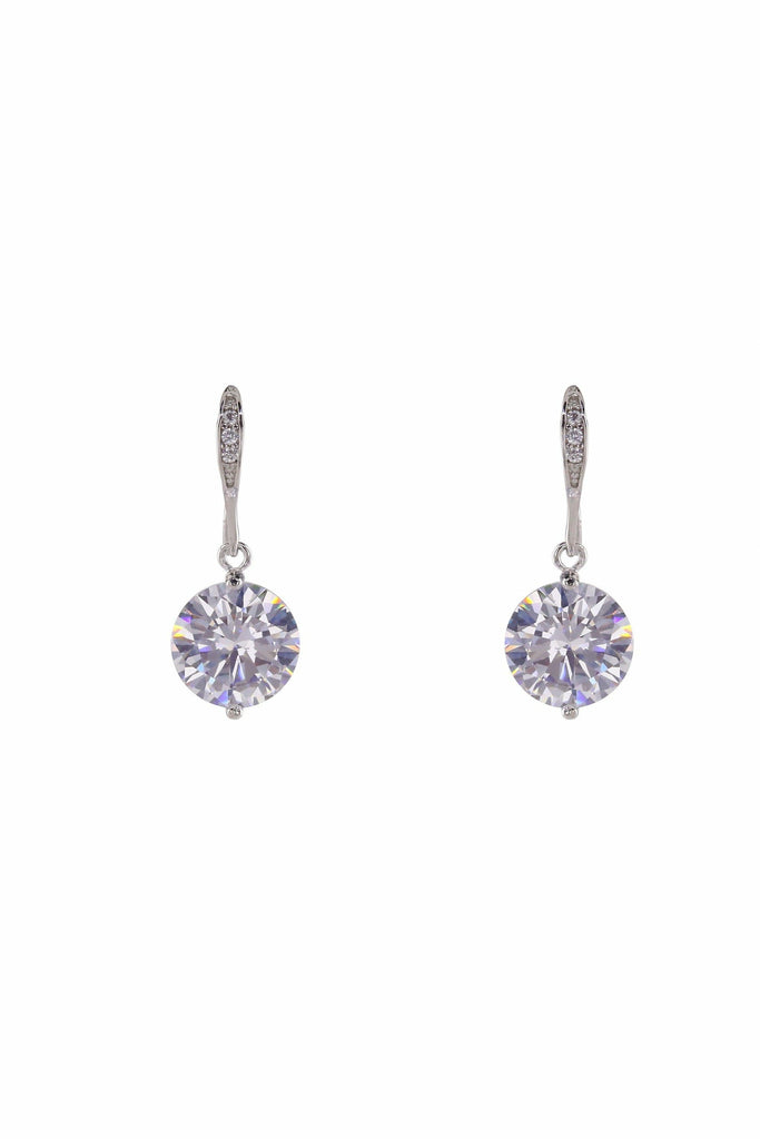 LoveRocks LARG CZ SOLITAIRE ON SCULPTED EARWIRE