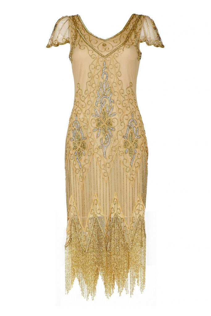 Annette Vintage Inspired Fringe Flapper Dress - Gold Gatsbylady London