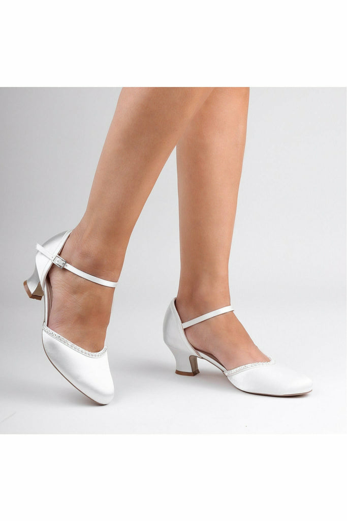 Paradox London Satin 'Alfie' Low Heel Court Shoes