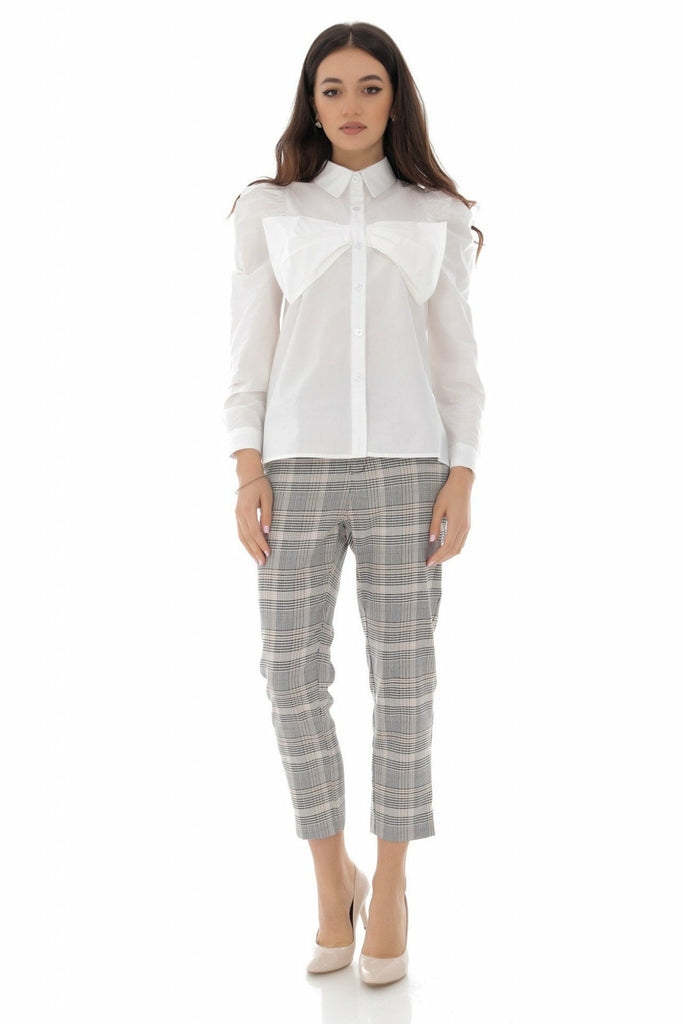 Aimelia Apparel Chic cotton shirt with attached bow detail