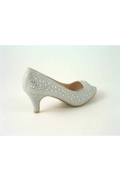 Glitz Shoes Divine Glitter Diamante Mid Heel Peep Toe Court Shoe