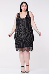 Francesca Vintage Inspired Flapper Dress - Hand Embellished - Silver Gatsbylady London