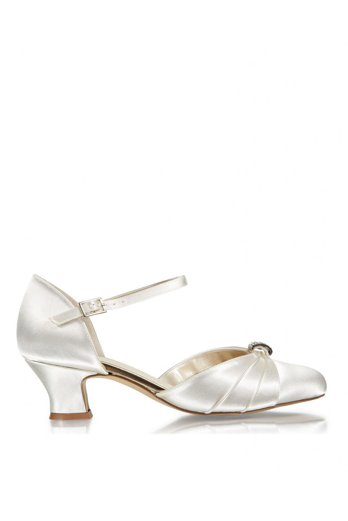 Satin Dyeable 'Avalyn' Wide Fit Two Part Low Heel Shoe Paradox London