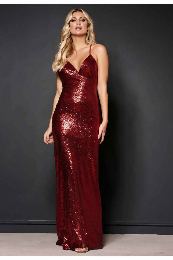 "Revie London Deep Red Sequin Maxi Dress ""Jayne"""