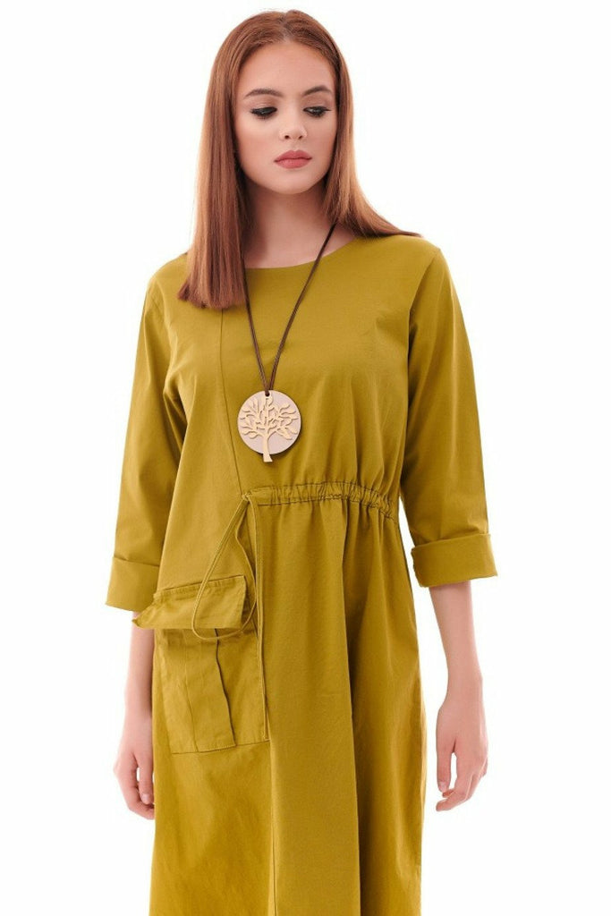 Aimelia Apparel Oversized lime cotton with semi-draw string waist - Green