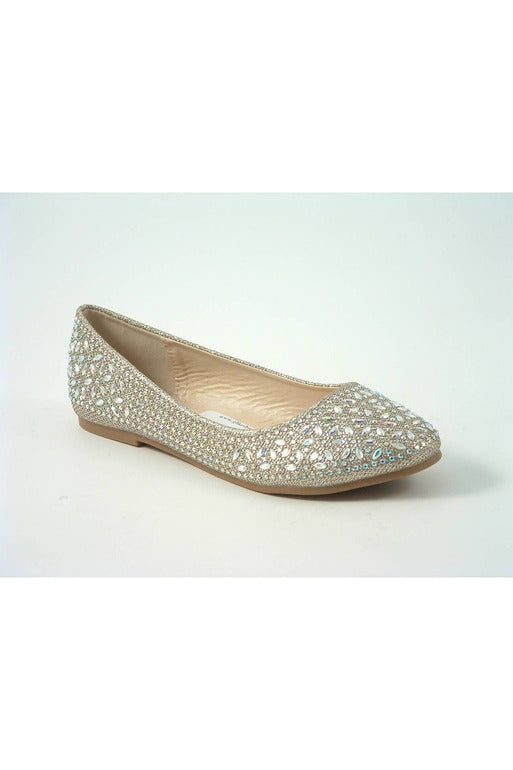 Divine Diamante Flat Ballerina Shoes Glitz Shoes