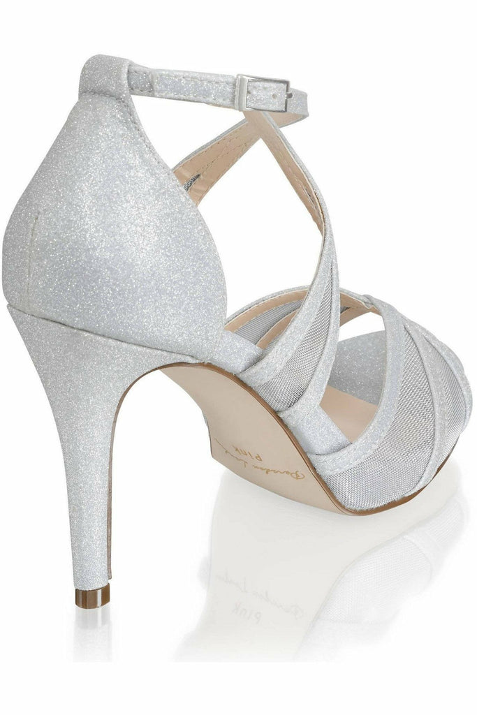Hinoa' Mid Heel Ankle Strap Sandal - Silver Paradox London