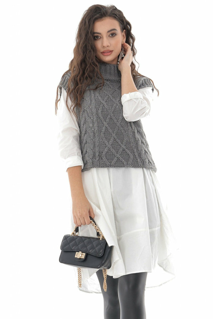 Aimelia Apparel Ladies Grey High neck cable knitted vest