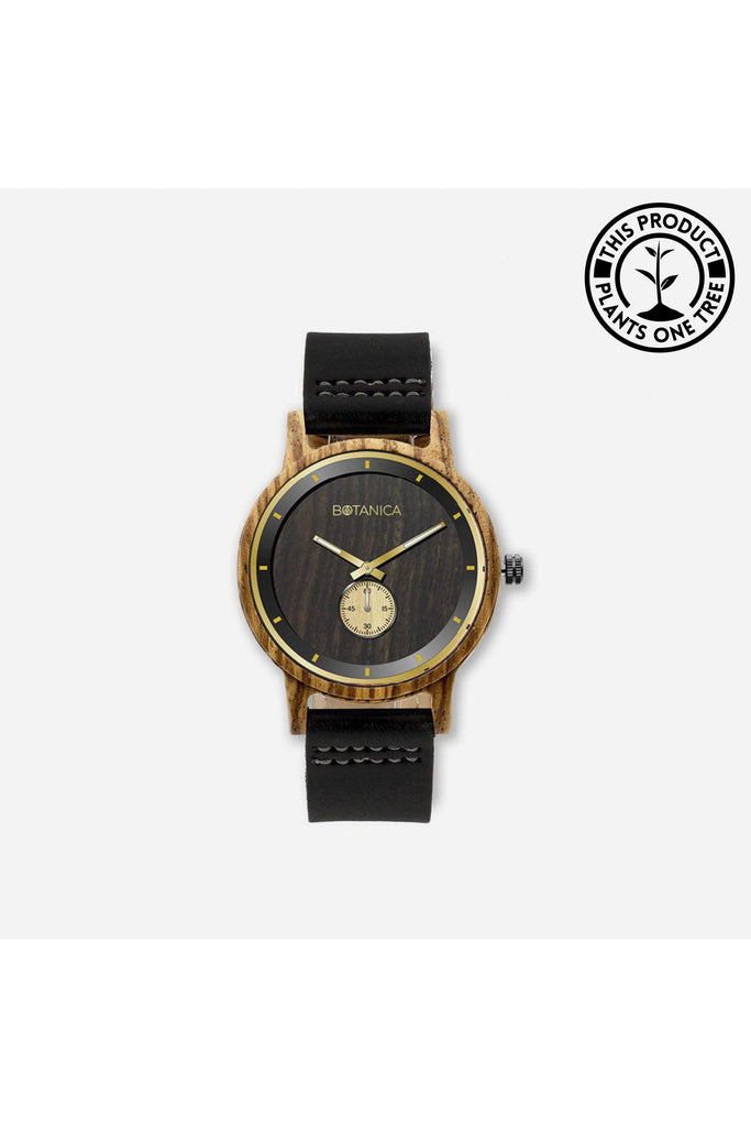 Wooden Watch | Juniper | 42mm Edition| Black Leather Botanica Watches