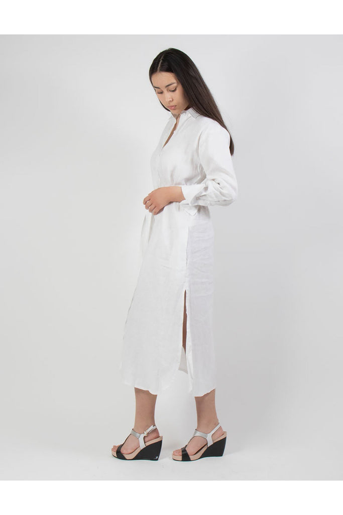 Button Down Linen Shirt Dress White